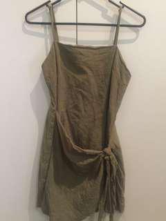 Paper Closet Khaki tie up dress