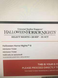 Halloween Horror Nights 8 Tickets with Express PLUS on 20 October 2018