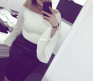 Bardot white off shoulder top