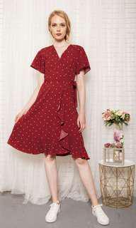 The Stage Walk TSW Cherie Faux Wrap Polka Dot Dress Size L