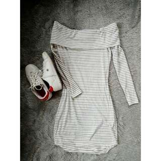 Stripes white and gray offshie dress
