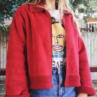 red teddy style lining jacket