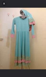 baju muslim anak / gamis renda