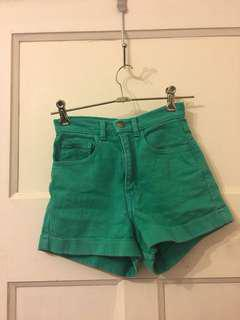 High waisted Green denim shorts