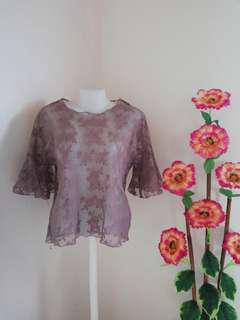Floral See-through Blouse