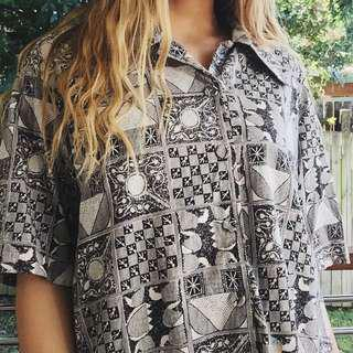 black & white patterned funky retro dad shirt