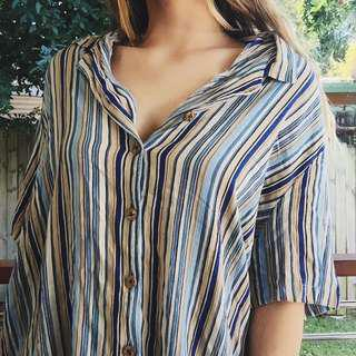 vintage retro style stripe button down