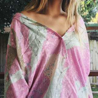 satin pink retro pattern top
