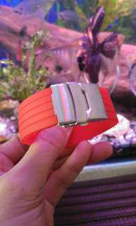 22mm soft Silicone red rubber watch strap with deployment buckle