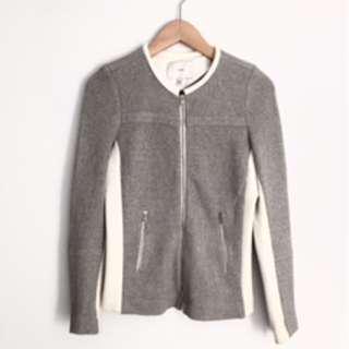 IRO designer jacket grey tweed cream leather size 38