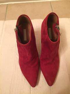 Red suede booties/ heels/ Pumps - size 7