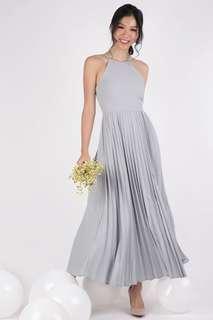 BNWT TTR Abe Pleated Maxi Dress (Soft Grey, Sz M)