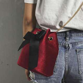 SALE Velvet Ribbon Bucket Bag