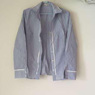 藍色條紋西裝襯衫