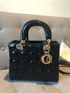 Christian Dior black patent patent leather bag copy