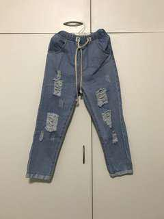 Paper bag denim jeans