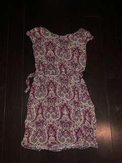 Burgundy paisley cap sleeve dress