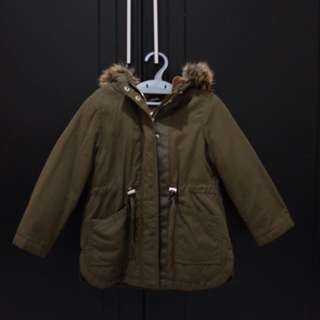 Zara Kids Green Parka Coat