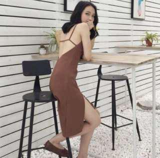 (實拍圖三)緊身露背開叉連身洋裝