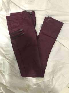 Maroon Coated Jeans (h&m)