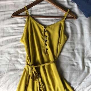 yellow maxi dress w tassels!
