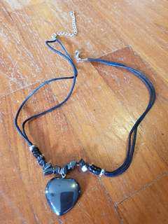 Lucky black hematite heart necklace