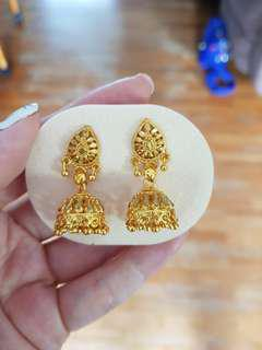 Gold plated traditional indian earrings