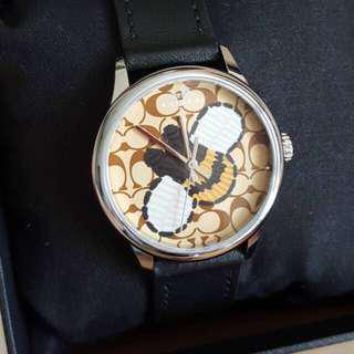 NEW COACH RUBY WATCH BEE BLACK LEATHER