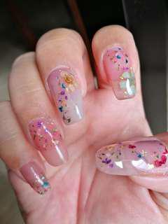 ❤DRIED FLOWER FLORAL THEME HOME BASED USJ 1 Gel polish Gelish service mani pedi manicure gel pedicure special nail art