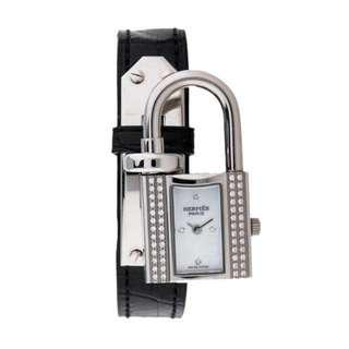 (Hold) Hermes Diamond Kelly Lock Croco Watch