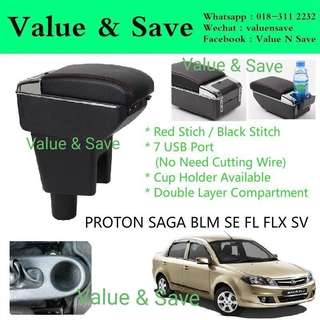 PROTON SAGA BLM SE FL FLX SV Adjustable Armrest Arm Rest Red Stitch 7USB Port With Cup Holder