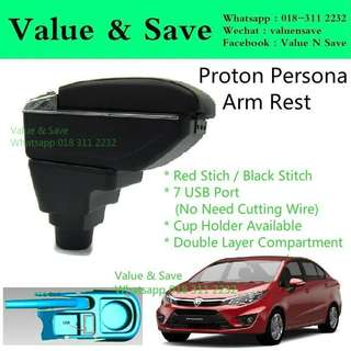 Proton Persona Adjustable 2016-2018 Armrest Red Stitch 7USB with Cup Holder