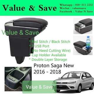Proton Saga 2016-2018 Adjustable Armrest Red Stitch 7usb port With Cup Holder
