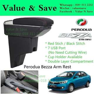 Perodua Bezza Adjustable Armrest Arm Rest Red Stitch 7USB Port with Cup Holder
