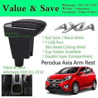 🔥🔥Perodua Axia Adjustable Armrest Arm Rest Red Stitch 7USB Port / Cup Holder