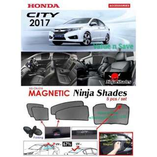 Honda City 2014 - 2018 Magnetic Ninja Sun Shade (5pcs/set) Premium Quality