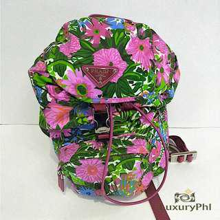 Prada Mini Backpack Floral in Pink Tessuto