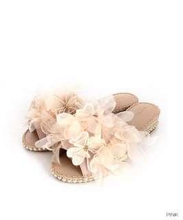 全新Randa粉紅色花朵涼鞋