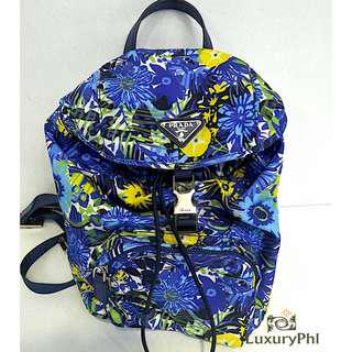 Prada Mini Backpack Floral In Blue Tessuto