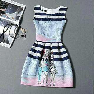 fashion mini dress gaun pesta mini motif cewek