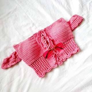 ❤ PRELOVED ❤ Pink Off-shoulder Crochet top