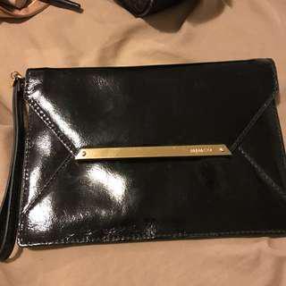 Mimco black leather envelope purse