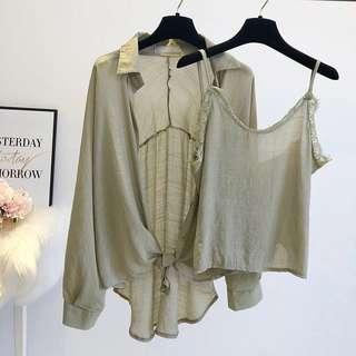 Summer Green Linen Cotton 2 in 1 Blouse Top Shirt