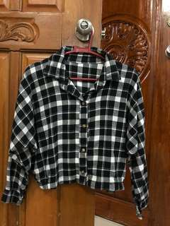 Checkered polo long sleeves (black)