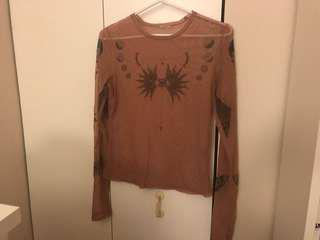 Mesh Pink/Tan Top with Sun, Moon, and Butterly Details -dark pink/brownish pink