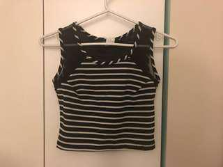 Striped Crop Top w Mesh Strap -bodycon tank from Sirens