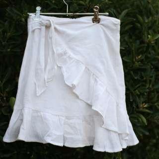 White Tie Linen Skirt