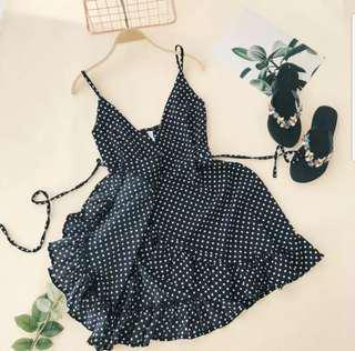 Poka dots black spaghetti dress free size Brand New Piece