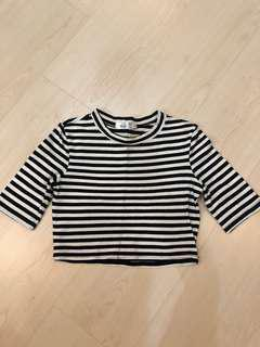 3/4 Sleeve Stripes Crop Top