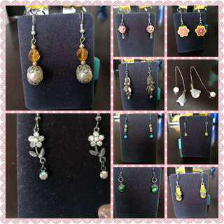 😍SALE CLEARANCE Earrings pearl diamond tribal silver assorted designs DANGLE DANGLING